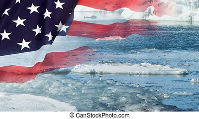 Melting glaciers with USA flag, timelapse