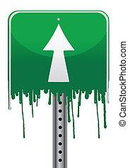 Melting green street sign