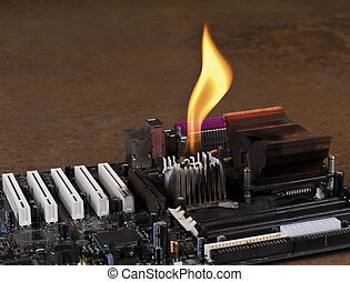 melting heat sink on computer board