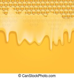 melting honey on honeycombs background
