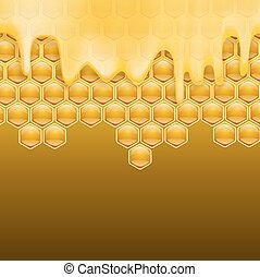 melting honey on honeycombs brown background