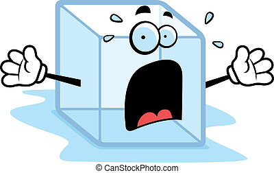 Melting Ice - A cartoon melting ice cube with a scared...