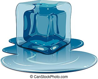 Melting ice cube - Illustration melting ice cube on a white...