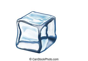 Melting Ice Cube Isolated on a White Background.