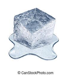 Melting ice cube - Isolated on white melting ice cube