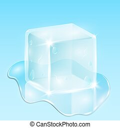 Melting ice cube on a light blue background. A drop of water is flowing