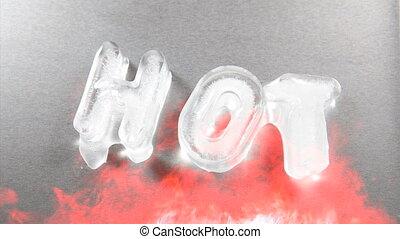 Melting ice, hot, time lapse