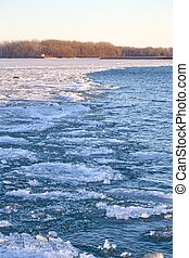 Melting ice in lake Ontario waters
