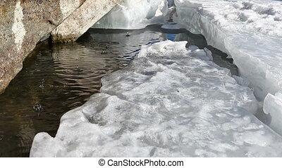 Melting ice on lake in spring. - Melting ice on lake Baikal....