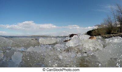 Melting ice on the lake