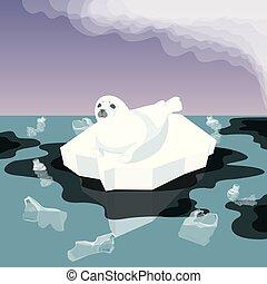 Melting Iceberg And Fur Seal