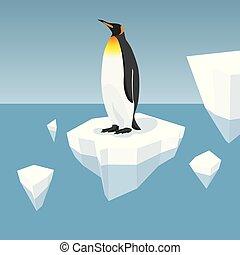 Melting Iceberg And King Penguin - Vector Flat Isometric...