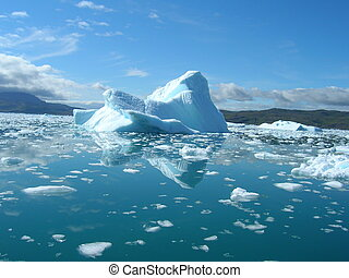 Melting icebergs by the coast of Greenland, on a beautiful...
