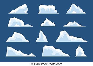 Melting icebergs. Snow arctic bergs, ice north pole cold nature elements. Cartoon winter landscape glacier rock frozen mountain vector set. Illustration melting ice berg, floating winter snow glacial