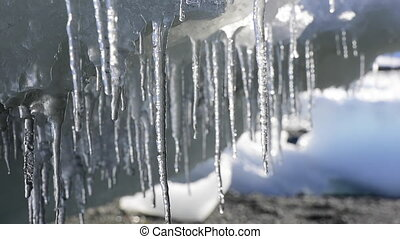 Melting Icicles in Antarctica - Melting Icicles day time in...