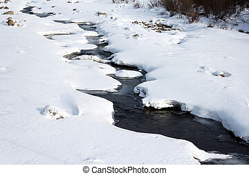 Melting of ice on the river