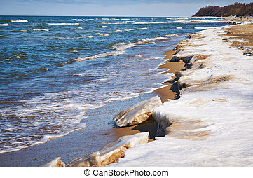 Melting of sea ice - Ice-covered sea beach