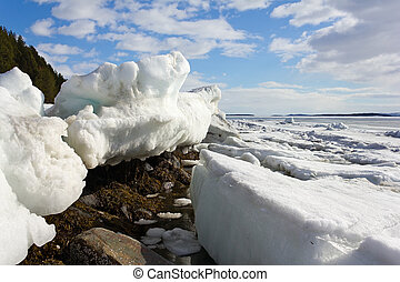 Melting of sea ice - Sea ice is destroyed in the spring