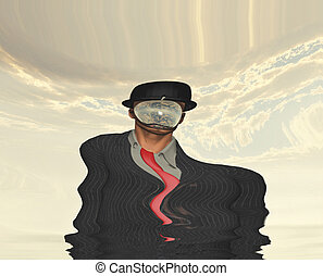 Melting Scene of man in dark suit hidden face