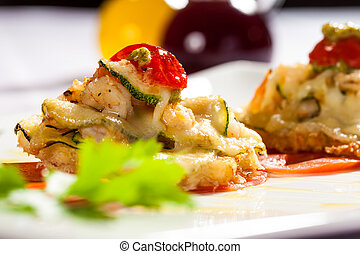 melting shrimp and vegetable entree