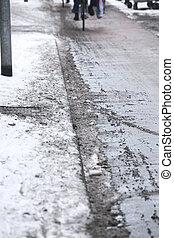 Melting snow on bikepath