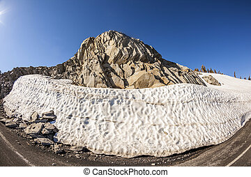 snow on Mount Lassen in the national park - melting snow on ...