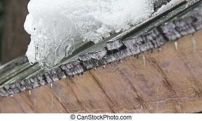 Melting snow on roof