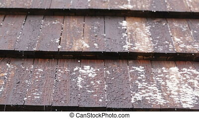 Melting snow - On wooden roof is melting snow