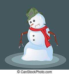 Melting snowman, abstract art background
