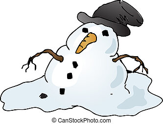 Melting snowman - Melting depressed snowman with tophat,...