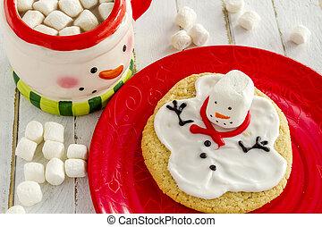 Melting Snowmen Decorated Sugar Cookies