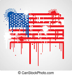 Melting USA flag