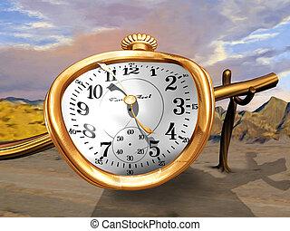 A gold pocket watch bent over a wooden pole