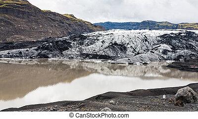 melting water and Solheimajokull glacier