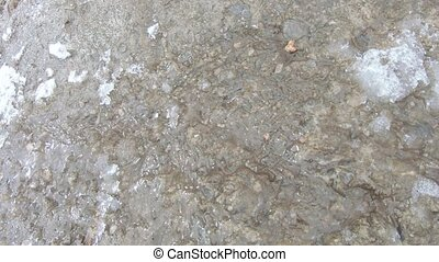 Melting water in concrete runoff under snow and ice
