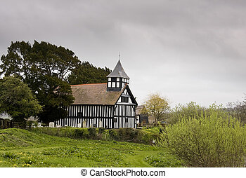 Melverley Church on stormy day