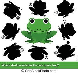 melyik, árnyék, gyufa, a, zöld, karikatúra, béka