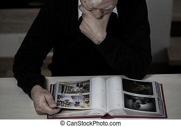 memórias, idoso, recollect, homem