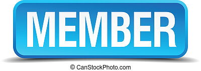 Member blue 3d realistic square isolated button