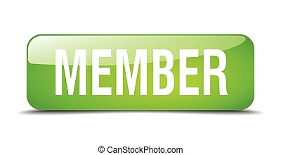member green square 3d realistic isolated web button