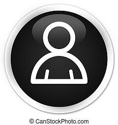 Member icon black glossy round button