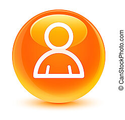 Member icon glassy orange round button