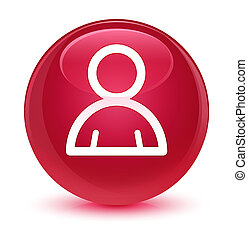 Member icon glassy pink round button