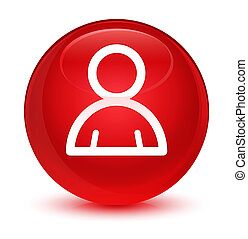 Member icon glassy red round button
