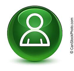 Member icon glassy soft green round button
