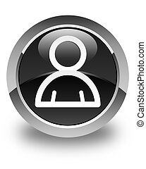 Member icon glossy black round button
