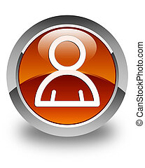 Member icon glossy brown round button