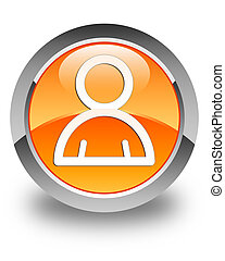 Member icon glossy orange round button