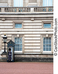 Member of the British Household Cavalry Guards, on the Buckingham Palace. London United Kingdom