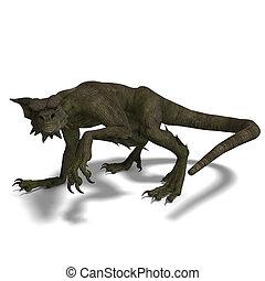 Member of the fantasy dragon folk - 3D rendering of a Member...